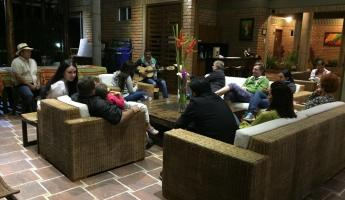Relaxing after dinner at Finca del Cafe in Colombia