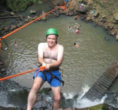 Rapelling down the waterfall!