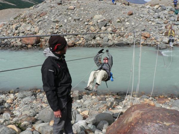 Crossing the Rio FitzRoy by Tyrolean Traverse
