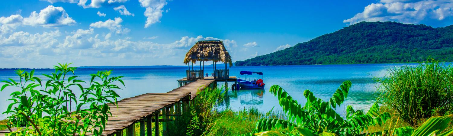 Beautiful pier at Lake Peten, Guatemala