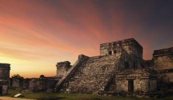 Sunset in ancient Mayan city of Tulum
