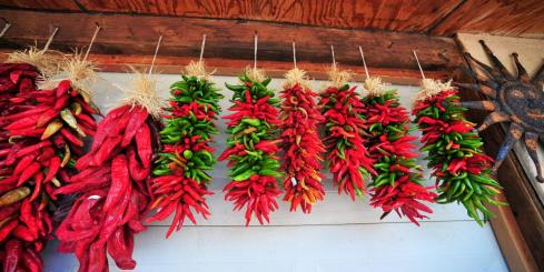 Peppers hanging up in Mexico