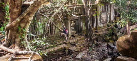 Hiking in jungle ruins in Cambodia