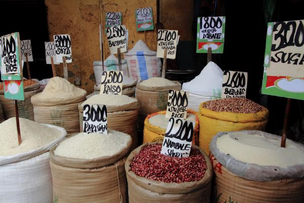 Rice, Beans, Sugar in a local Market