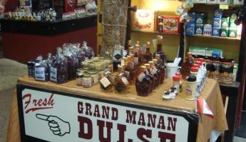Slocum & Ferris Market Stall selling Dulse (seaweed) and Maple Syrup