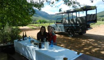 Tasting wine and other goodies in the Waterford vineyard