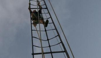 Climbing the rigging on the Liberty Clipper