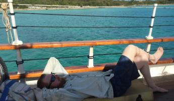 Relaxing while Sailing in the Bahamas
