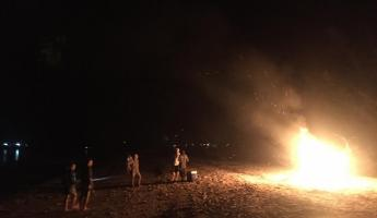 Beach bonfire in the Bahamas!