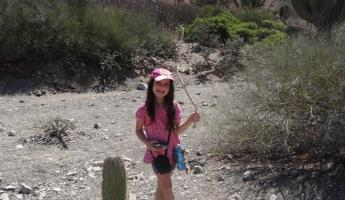 Samantha Hiking thru the Cactus on Santa Catalina