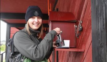 Stamping our passports on the White Pass Yukon Rail