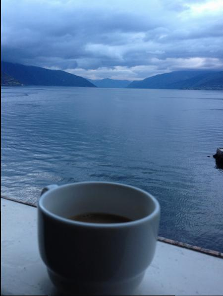 Coffee with a view from my room at Kviknes Hotel, Balestrand
