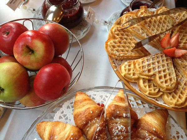 Breakfast waffles at Walaker Hotell, the oldest hotel in Norway