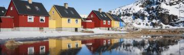 Reflection of colorful houses in Greenland