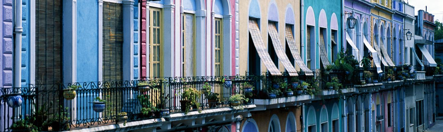 Colorful buildings of Barrio Reus, Montevideo