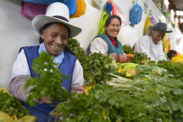 Friendly vendors at the Cusco market
