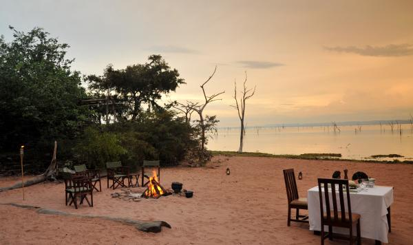 Beachside dining on shore of Lake Kariba