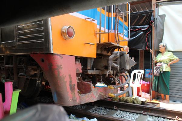 Train passing through the Mae Klong Market